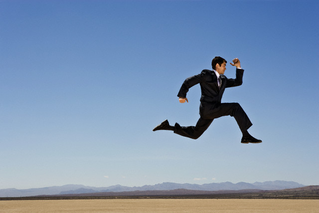 Businessman in Mid-Air