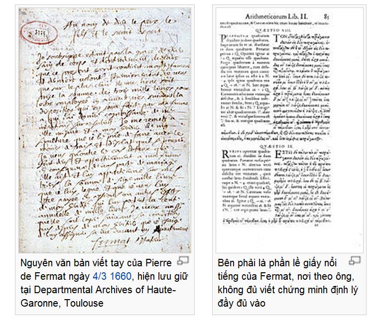 Bên phải là phần lề giấy nổi tiếng của Fermat, nơi theo ông, không đủ viết chứng minh định lý đầy đủ vào