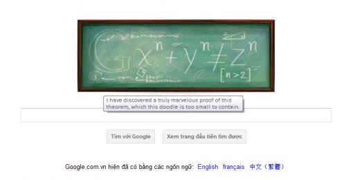 Logo Google ngày 17-08-2011: Kỷ niệm ngày sinh nhà toán học Pierre de Fermat