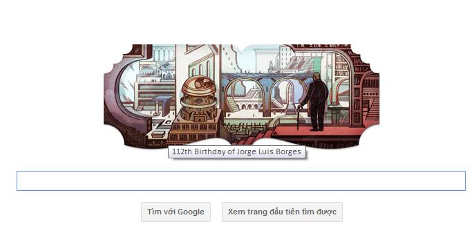 logo google hom nay 24-08-2011 -ky niem 112 ngay sinh cua Jorge Luis Borges