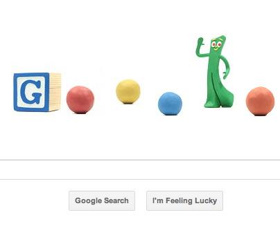 Logo Google hôm nay 12-10-2011 với sự xuất hiện của các cục đất sét, và một nhân vật bằng đất sét rất nổi tiếng Gumby