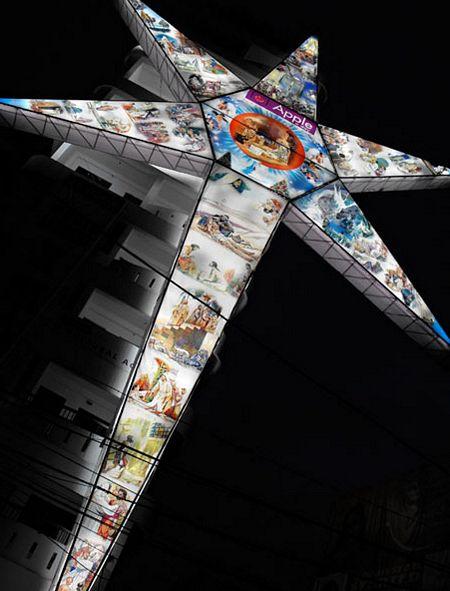 Ngôi sao Giáng sinh lớn nhất cao 31,59m và do hãng Apple A Day Properties ở Ấn Độ thiết kế