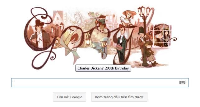 Logo Google hôm nay 07-02-2012: Mừng sinh nhật lần thứ 200 của Charles Dickens