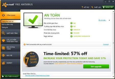 Giao diện của Avast Free Antivirus hoàn toàn bằng tiếng Việt