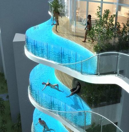 Các ban công được thay thế bằng bể bơi.