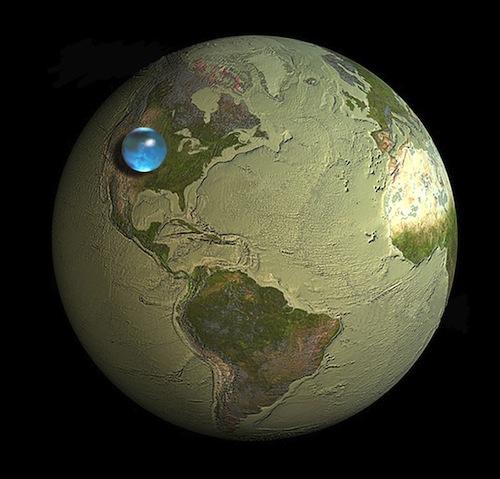 nếu nhét nước vào một khối cầu thì nó chỉ chiếm một phần rất rất nhỏ so với tổng thể tích của trái đất