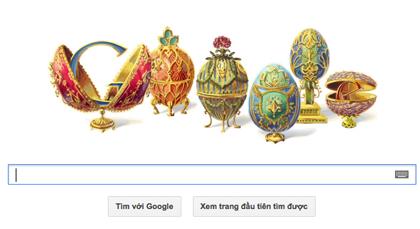 Những quả trứng phục sinh của Peter Carl Fabergé trên trang chủ Google vào ngày 30/05