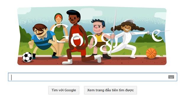 Logo Google hôm nay 27-07-2012: chào mừng Olympic