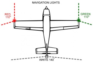 Bố trí đèn 3 màu trên máy bay