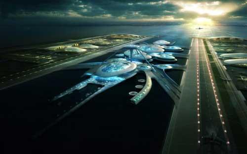 """Sân bay nổi khổng lồ theo phong cách """"ngoài hành tinh"""" đang được đề xuất xây dựng tại cửa sông Thames."""