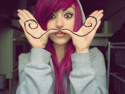 funny-girl-hair-mustache-pink