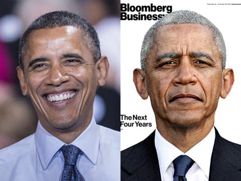 Ông Obama tóc bạc hơn sau 4 năm làm tổng thống và dự kiến sẽ bạc trắng sau 4 năm nữa. Ảnh: Bloomberg Businessweek