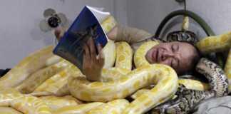 """Ông Emmanuel Tangco cùng những con rắn """"cưng"""" của mình."""