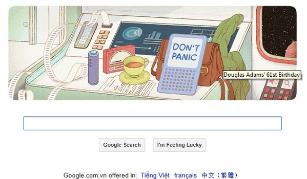 Logo Google hôm nay 11-03-2013: kỷ niệm sinh nhật lần 61 của Douglas Adams