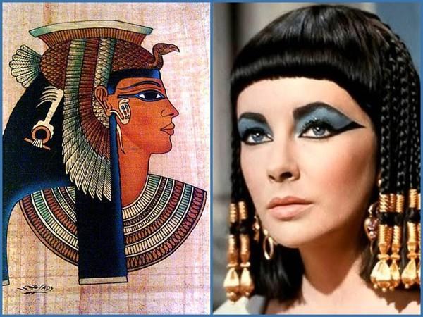 """Cách trang điểm mắt của người Ai Cập. Hình bên phải là diễn viên Elizabeth Taylor vào vai Nữ hoàng Cleopatra trong phim """"Cleopatra"""" (1963)"""