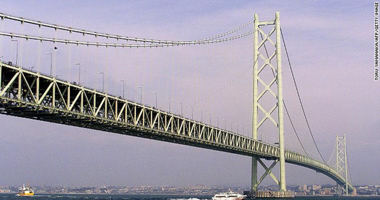 Cầu Akashi Kaikyō ở eo biển Akashi, Nhật Bản