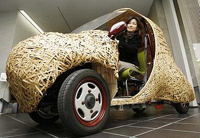 Chiếc ô tô này được làm từ tre, có chiều dài 2,7m, rộng 1,3m, cao 1,65m và có thể chứa được 1 người điều khiển