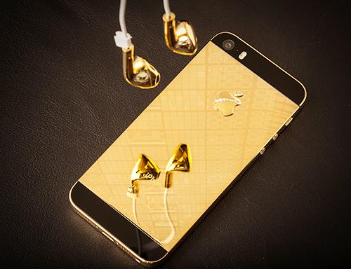 iPhone 5S Glossy Gold được xử lý mạ vàng 14K