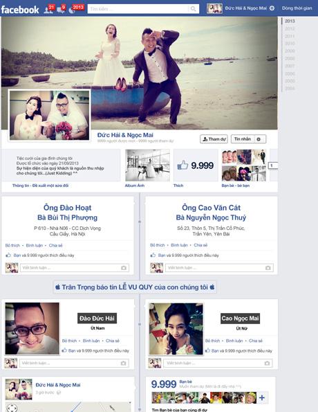 """Chiếc thiệp mời cưới mang giao diện trang facebook nhưng được """"cá nhân hóa"""" thông tin lễ cưới"""