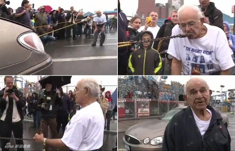"""""""Hercules"""" Mike 92 tuổi đã khiến người xem không khỏi thán phục khi đã kéo cả một chiếc ô tô trọng tải lớn chỉ bằng miệng"""