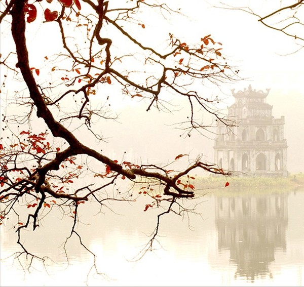 Một trong những tác phẩm về tháp rùa hồ Gươm của tác giả Lâm Phúc.