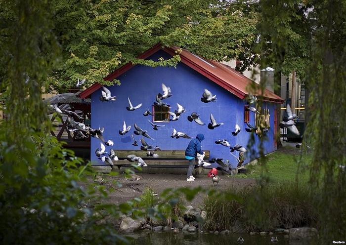 Chim bồ câu bay xung quanh một người phụ nữ đang định cho chúng ăn trong một công viên nhỏ ở thành phố Vancouver, Canada