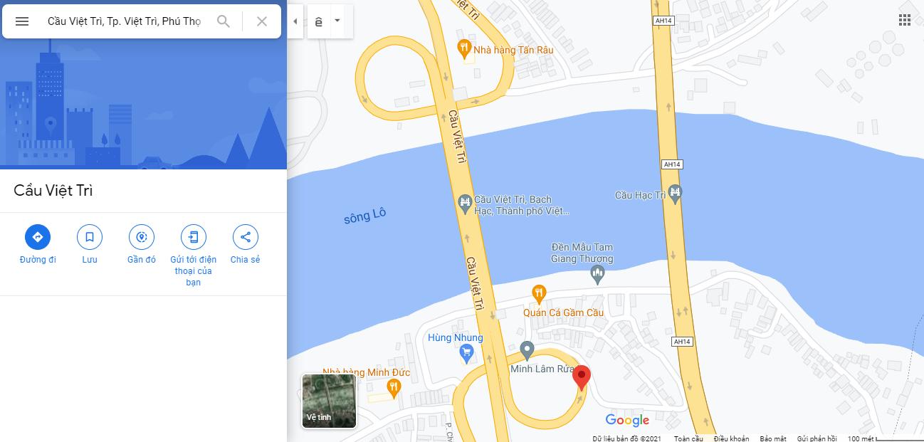 Bản đồ Google Map Cầu Việt Trì. Ảnh chụp màn hình