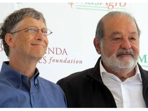 Hai tỉ phú hàng đầu thế giới Bill Gates và Carlos Slim (phải). Ảnh: MCCLATCHYDC.COM