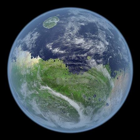Diện mạo của sao Hỏa khi vẫn còn có nước, theo mô phỏng của các nhà nghiên cứu.