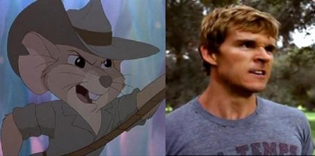 Chú chuột Jake trong phim Rescuers Down Under  và diễn viên Ryan Kwanten.