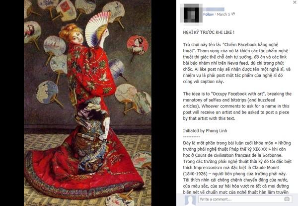 """Nhiều người dùng Facebook Việt Nam bắt đầu cảm thấy hứng thú với trò chơi này và đang """"chiếm Facebook"""" bằng những tác phẩm nghệ thuật."""