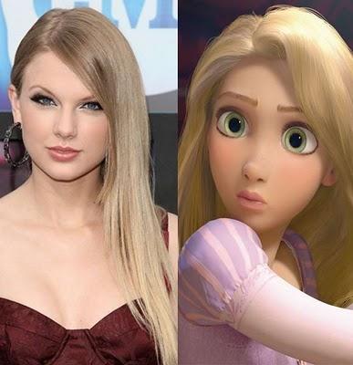 """Nhiều người lại cho rằng nhân vật nàng công chúa tóc dài Rapunzel lại rất giống với """"công chúa nhạc đồng quê"""" Taylor Swift."""