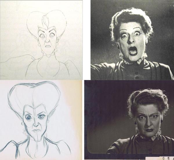 Những kiểu biểu cảm của hai nhân vật phản diện như bà mẹ kế trong phim Lọ Lem và mụ phù thuỷ trong phim Công chúa ngủ trong rừng