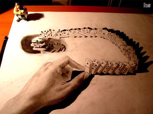 Domino 30 Life Like 3D Pencil Drawings by Wladimir Inostroza