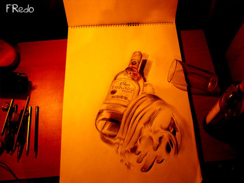 Rum 30 Life Like 3D Pencil Drawings by Wladimir Inostroza