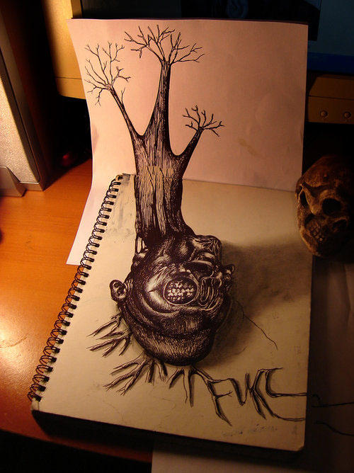 tree 30 Life Like 3D Pencil Drawings by Wladimir Inostroza
