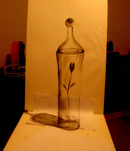Bottle 30 Life Like 3D Pencil Drawings by Wladimir Inostroza