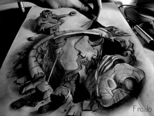 Hole in the Papearth 30 Life Like 3D Pencil Drawings by Wladimir Inostroza