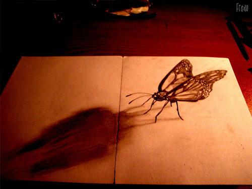 Mariposa 30 Life Like 3D Pencil Drawings by Wladimir Inostroza