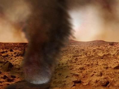 Các cơn bão bụi trên sao Hỏa thường diễn ra trong vòng một tháng. Ảnh: astronomynow.