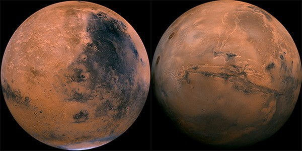 Hai nửa bán cầu trên sao Hỏa. Ảnh: Toptenz.
