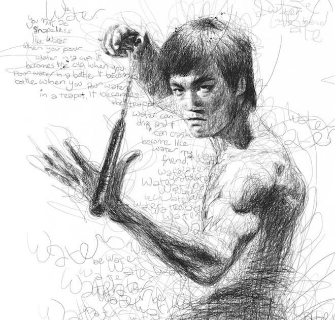 Với bàn tay khéo léo của mình, anh đã kết hợp các đường vẽ nguệch ngoạc, rất phức tạp và biến chúng thành những bức chân dung hoàn chỉnh.