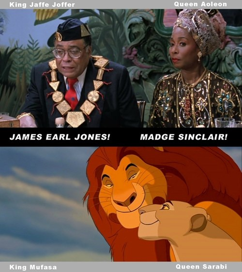 """James Earl Jones và Madge Sinclair đã từng đóng vai cha mẹ của một hoàng tử châu Phi trong phim """"Coming to America"""" trước khi lồng tiếng cho """"The Lion King""""."""