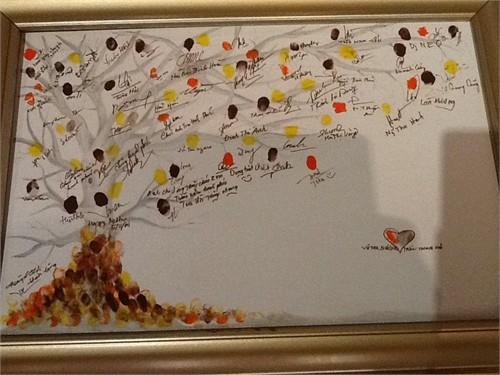 khi quan khách tới dự tiệc đều được mời in dấu vân tay và ký tên chúc mừng đôi vợ chồng mới cưới. Bản thân cô dâu chú rể cũng ký tên rồi in dấu vân tay lên bức tranh tay. Khi bữa tiệc kết thúc, cái cây khô cằn ban đầu đã trở thành một cái cây xum xuê hoa lá - một bức tranh rất ý nghĩa đối với cặp vợ chồng mới cưới.