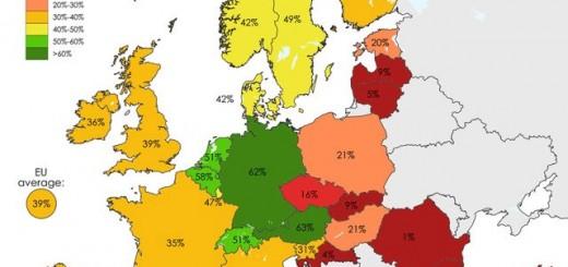 Bản đồ Tỉ lệ tái chế rác ở châu Âu