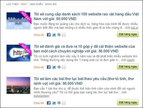 Ý tưởng website một giá 50 ngàn đồng