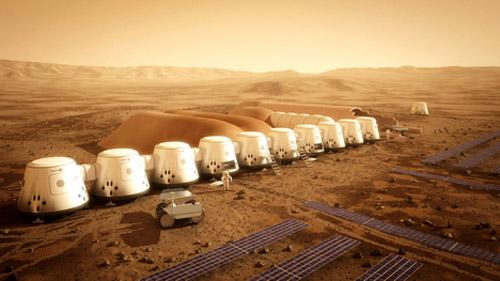 """Hình minh họa về những """"ngôi nhà"""" đầu tiên của con người trên sao Hỏa. Ảnh: dezeen.com."""