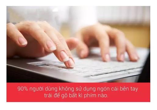90% người dùng không sử dụng ngón cái bên tay trái để gõ phím
