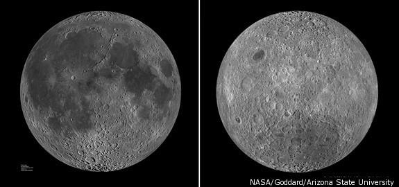 Bên trái là phía luôn hướng về Trái đất, bên phải là mặt tối của Mặt trăng.