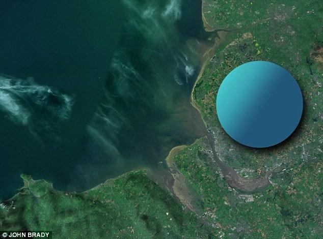 Trong hình ảnh đầu tiên này, John so sánh kích thước của một ngôi sao neutron bằng khu vực phía tây bắc nước Anh, đoạn giữa Liverpool và Warrington.